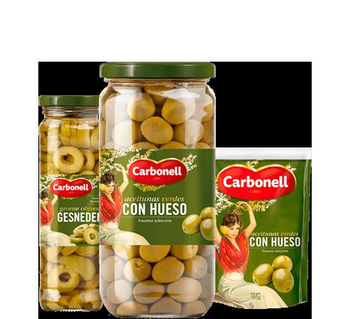 Olives: Stuffed, manzanilla green, hojiblanca black | Carbonell