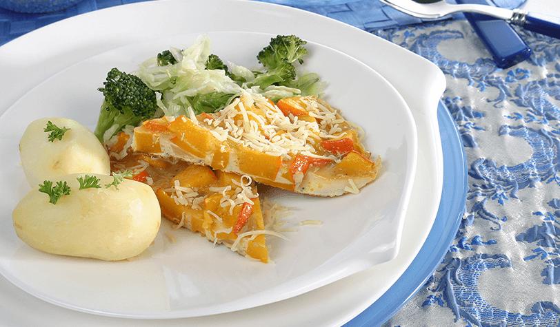 Pumpkin omelet with stir-fried vegetables