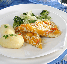Pumpkin omelet with stir-fried vegetables