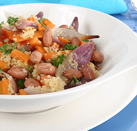 Couscous with roasted carrots and peanuts