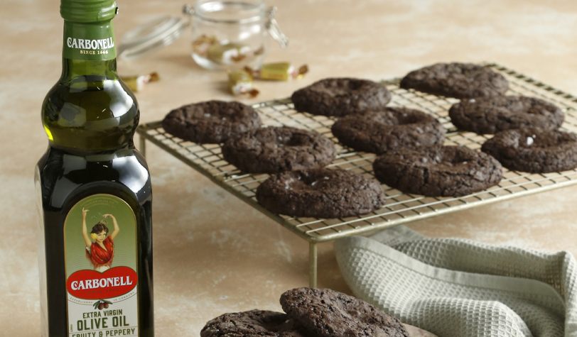 Olive Oil Salted Caramel Brownie Cookies