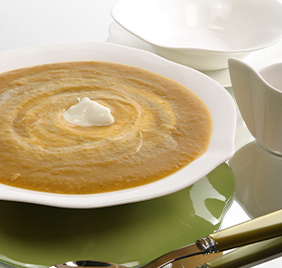 Sweet potato soup with goat's cheese cream